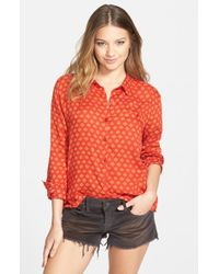 Volcom - Red 'counting Stars' Print Shirt - Lyst