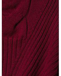 Alexander McQueen - Red Cable Knit Peplum Top - Lyst