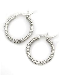 Lord & Taylor | Metallic Sterling Silver Cubic Zirconia Hoop Earrings | Lyst
