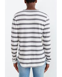 BDG - Gray Winterlite Striped Henley Tee for Men - Lyst