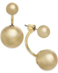 kate spade new york | Metallic Gold-tone Ball Front-back Earrings | Lyst