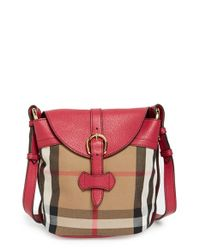 Burberry | Black 'Small Sycamore' Check & Leather Crossbody Bag | Lyst
