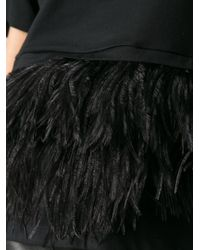 N°21 - Black Feather Hem Top - Lyst