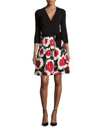 Diane von Furstenberg - Red 3/4-sleeve Floral-print Combo Wrap Dress - Lyst