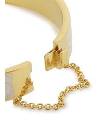 COACH | Metallic Cream Gold Plated Bangle | Lyst