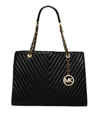 MICHAEL Michael Kors | Black Susannah Large Quilted Leather Satchel | Lyst