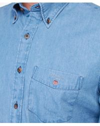 Gant - Blue Indigo Denim Shirt for Men - Lyst