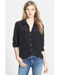 Two By Vince Camuto | Black Silk Utility Blouse | Lyst
