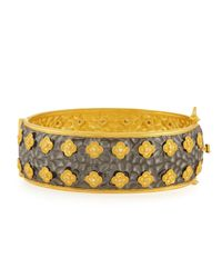 Freida Rothman | Yellow Floral And Pave Cz Wide Bangle | Lyst