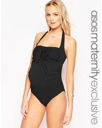ASOS - Black Maternity Swimsuit With Bow Detail - Lyst