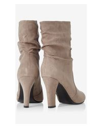 Express | Gray Slouchy Faux Suede Heeled Bootie | Lyst