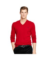 Polo Ralph Lauren | Red Wool V-neck Sweater for Men | Lyst