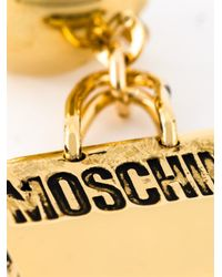 Moschino | Metallic Logo Plaque Earrings | Lyst