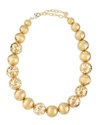 R.j. Graziano - Metallic Golden Ball Choker Necklace - Lyst