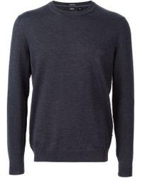 BOSS - Gray Crew Neck Sweater for Men - Lyst