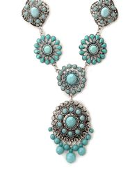 Forever 21 - Blue Rustic Medallion Necklace - Lyst
