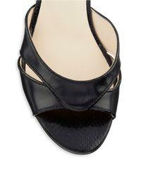 Nine West | Black Verasco Leather Wedge Sandals | Lyst