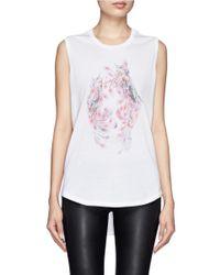 Alexander McQueen - White Floral Skull-print Sleeveless Tee - Lyst