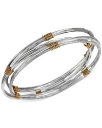 Robert Lee Morris | Metallic Two-Tone Wire-Wrapped Sculptural Bangle Bracelet Set | Lyst