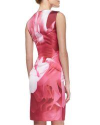 Carolina Herrera - Multicolor Peony-print Sheath Dress - Lyst