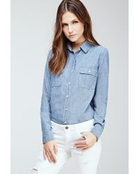 Forever 21 | Blue Two-pocket Chambray Shirt | Lyst