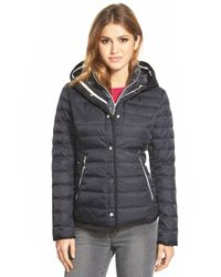 Vince Camuto Blue Hooded Down Jacket With Vest Front Insert