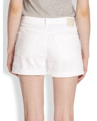 AG Jeans | White Hailey Rolled Ex-boyfriend Shorts | Lyst