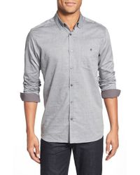 Ted Baker | Gray 'eloku' Herringbone Modern Slim Fit Sport Shirt for Men | Lyst