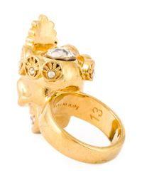 Alexander McQueen - Metallic Queen Skull Cocktail Ring - Lyst