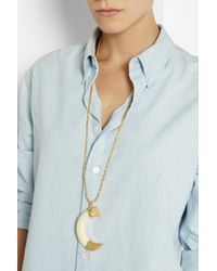 Kenneth Jay Lane - White Goldplated Pendant Necklace - Lyst