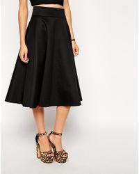 56e454590d ASOS Midi Circle Skirt In Scuba in Black - Lyst