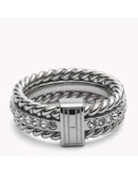 Tommy Hilfiger | Metallic Rope & Stone Ring | Lyst