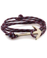 Miansai   Purple Burgundy Rope Gold Anchor Bracelet for Men   Lyst