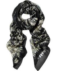 Balmain | Black Printed Silkchiffon Scarf | Lyst