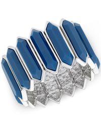 T Tahari | Silver-tone Blue Hexagonal Stretch Bracelet | Lyst