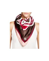 Tory Burch | Brown Fret Silk Square Scarf | Lyst
