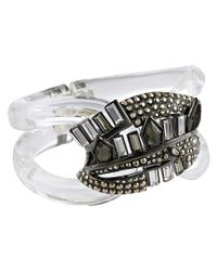 Alexis Bittar | Gray Cubist Banded Hinged Bracelet | Lyst