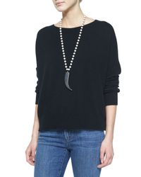 Eileen Fisher | Black Fine-Gauge Cashmere Box Top | Lyst