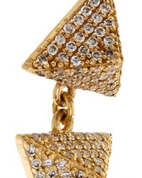 Ileana Makri - White-Diamond & Yellow-Gold Pyramid Earrings - Lyst