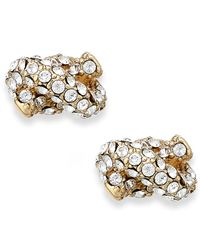 kate spade new york | Metallic Crystal Pave Knot Stud Earrings | Lyst