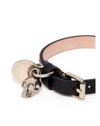 Alexander McQueen - Black Skull Charm Round Stud Leather Bracelet for Men - Lyst