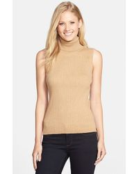 Vince Camuto | Brown Sleeveless Ribbed Turtleneck Sweater | Lyst