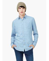 Mango - Blue Slim-fit Flannel Shirt for Men - Lyst