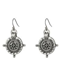 Lucky Brand | Metallic Silver Tribal Coin Drop Earrings | Lyst