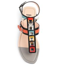 Fendi - Pink Studded Gladiator Sandals - Lyst