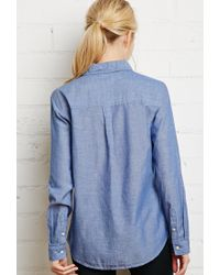 Forever 21 - Blue Classic Chambray Shirt - Lyst