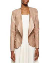 Lafayette 148 New York - Natural Becca Open Lambskin Leather Jacket - Lyst