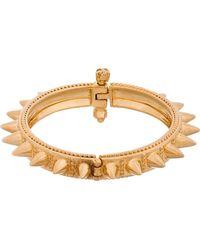Alexander McQueen - Metallic Gold Spike and Skulls Bracelet - Lyst