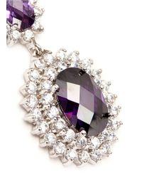 CZ by Kenneth Jay Lane - Purple Oval Cubic Zirconia Floral Drop Earrings - Lyst
