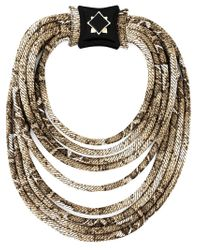 Giorgio Armani - Metallic Python Print Tube Necklace - Lyst